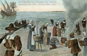 A fanciful postcard image of the Pilgrims' first wash day after making landfall.